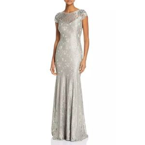 Adrianna Papell silver metallic lace gown dress